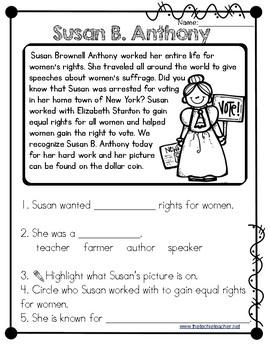 Susan B. Anthony Reading Passage
