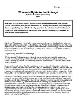 Susan B. Anthony Speech Woman's Rights to the Suffrage 1873