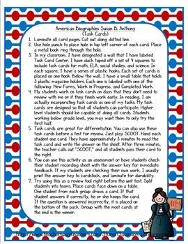 Susan B Anthony Task Cards