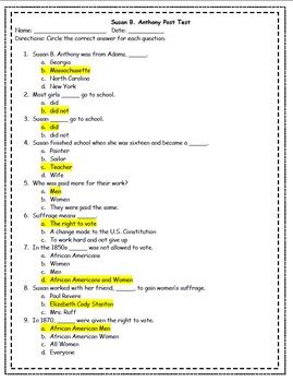 Susan B. Anthony Teaching Packet REVAMPED!!!