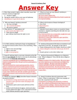 Susan B. Anthony Assessment and Study Guide!