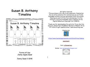 Susan B Anthony Timeline By Jenny Apple Seed Teachers