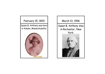 Susan B. Anthony Timeline Cards and Questions