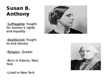 Susan B. Anthony Vocabulary/ Word Wall (Editable)