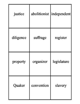 Susan B. Anthony Vocabulary Cards and Vocabulary Quiz