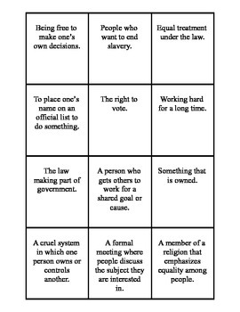 Susan B. Anthony Vocabulary Cards and Vocabulary Quiz