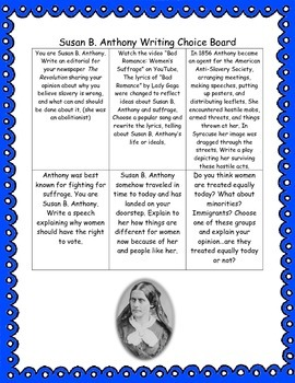 Susan B. Anthony Writing Choice Board