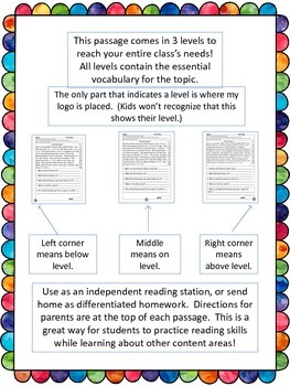 Susan B. Anthony fluency and comprehension leveled passages