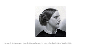 Susan B. Anthony for ESL students Kindergarten/First&Second Grade