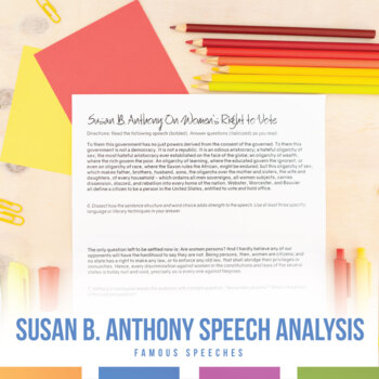 Susan B. Anthony's On Women's Right to Vote: Speech Analysis