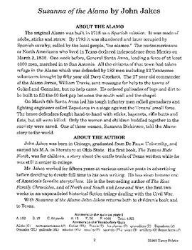Susanna of the Alamo Literature Guide
