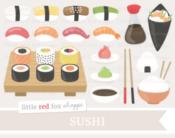 Sushi Clipart; Japanese Food, Japan, Nigiri, Onigiri, Fish, Seafood, Rice Bowl