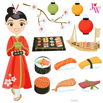 Sushi Cute Digital Clipart, Sushi Food Graphics