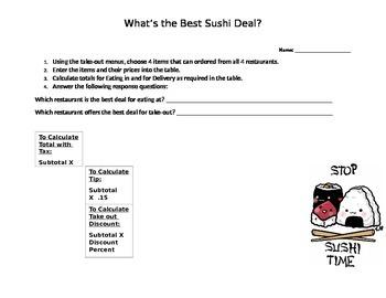 Sushi Deal: Calculating Percent
