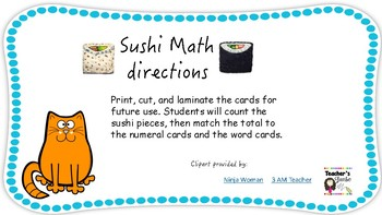 Sushi Math! Word form, standard form, addition pre-k kinder 1st grade centers
