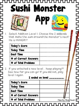 Sushi Monster App FREE Accountability Activity Sheets