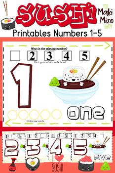 Sushi Printables Numbers 1-5