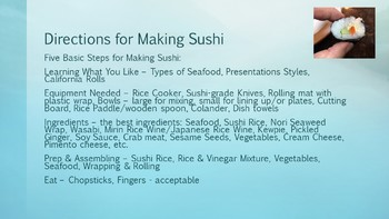 Sushi Rolls Directions Power Point