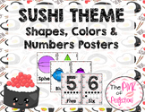 Sushi Theme Shapes, Colors & Numbers Posters