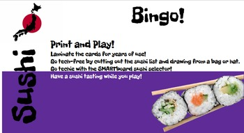 Sushi Vocabulary Bingo and SMARTboard Food Selector; Culin