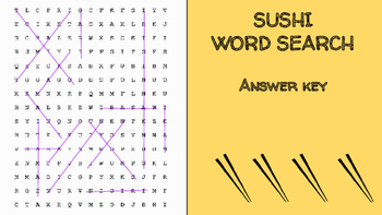Sushi Word Search; FACS, Culinary Arts, Bellringer, Japanese, Language