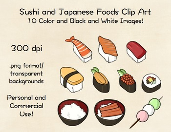 Sushi and Japanese Foods Clip Art