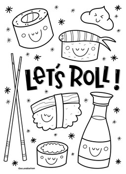 Sushi coloring page