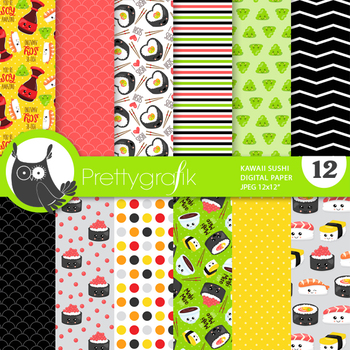 Sushi papers, commercial use, scrapbook papers - PS857