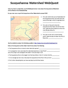Susquehanna River Watershed WebQuest