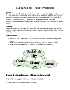 Sustainability Project Proposal and Rubric