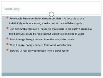 Sustainability- Renewable/Nonrenewable Resources
