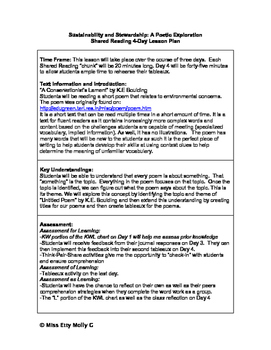 Sustainability and Stewardship Shared Reading 4-Day Lesson Plan