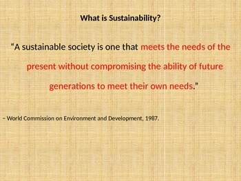 Sustainability in our world