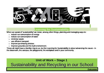 Sustainability/Recycling Unit - Stage 1 (Years 1 and 2)