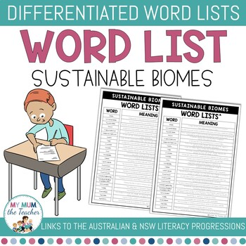 Sustainable Biomes Differentiated Word Lists