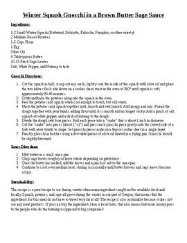 Sustainable Cookbook Rubric & Example