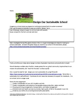 Sustainable School and City:  Make Your School and A Minec