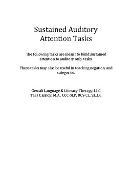Sustained Auditory Attention Activities