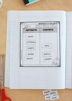 Sustantivos Abstractos & Concretos Libreta Interactiva