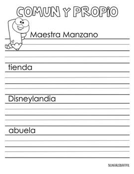 Sustantivos Comunes y  Propios (Common and Proper Nouns)