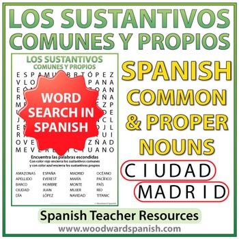 Sustantivos Comunes y Propios - Sopa de Letras