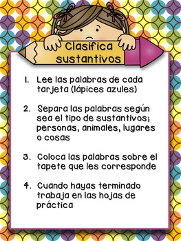 Sustantivos - Spanish Nouns - Sorting Game and Worksheets