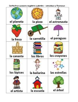Spanish: Nouns (Sustantivos comunes: singulares/plurales, femeninos/masculinos)
