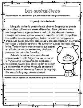 Sustantivos para niños mayores/ Nouns for Older Students in Spanish