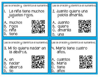 Sustantivos - tarjeta de tarea (task cards)
