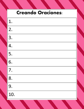 Sustantivos y Verbos:  Creando Oraciones - Centro de Gramatica