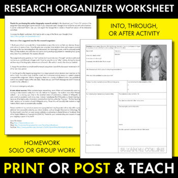 Suzanne Collins Author Study Worksheet, Easy Biography Activity, CCSS