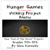 "Suzanne Collins ""Hunger Games"" Enrichment Writing Project Menu"