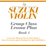 Suzuki Violin Group Lesson Plan: Learn the Music Terms from Book 1