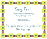 Suzy Print Spalding Handwriting Font for making handwriting worksheets, etc.